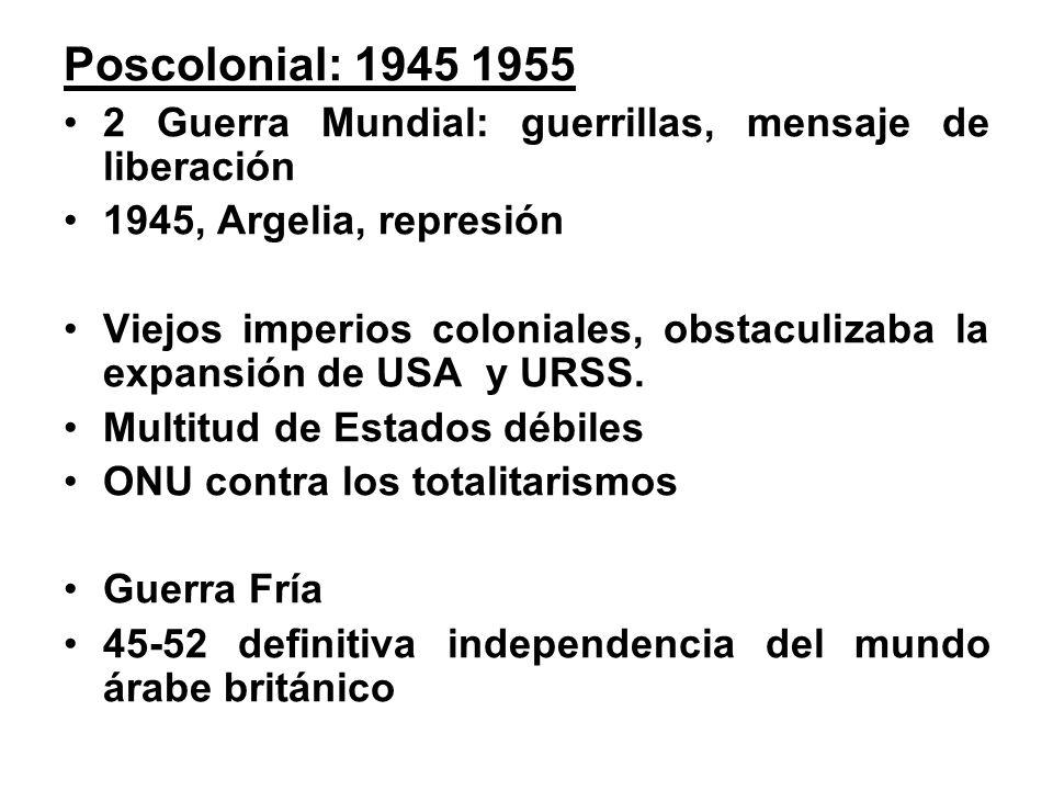 Poscolonial: 1945 1955 2 Guerra Mundial: guerrillas, mensaje de liberación. 1945, Argelia, represión.