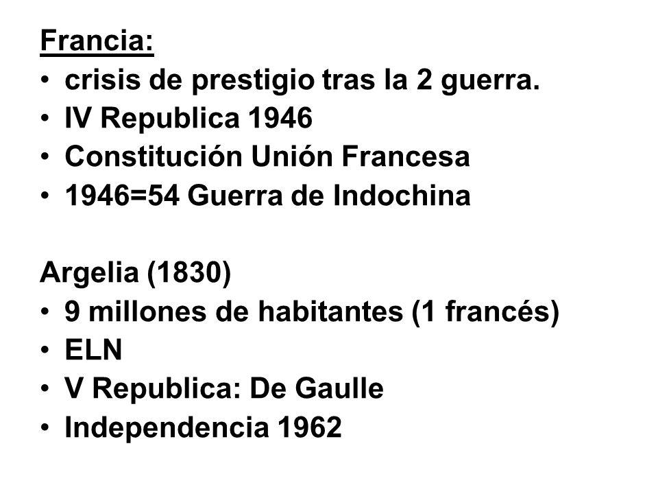 Francia: crisis de prestigio tras la 2 guerra. IV Republica 1946. Constitución Unión Francesa. 1946=54 Guerra de Indochina.