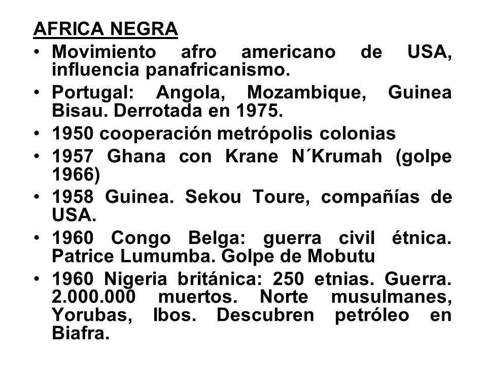 AFRICA NEGRA Movimiento afro americano de USA, influencia panafricanismo. Portugal: Angola, Mozambique, Guinea Bisau. Derrotada en 1975.