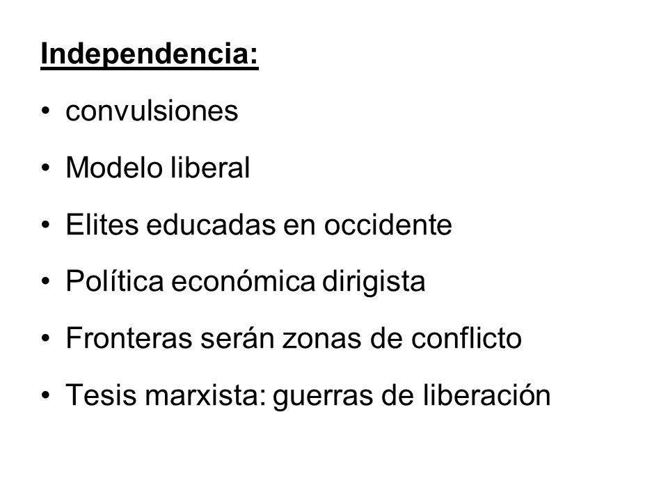 Independencia: convulsiones. Modelo liberal. Elites educadas en occidente. Política económica dirigista.