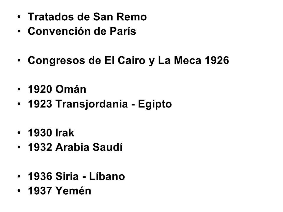 Tratados de San Remo Convención de París. Congresos de El Cairo y La Meca 1926. 1920 Omán. 1923 Transjordania - Egipto.