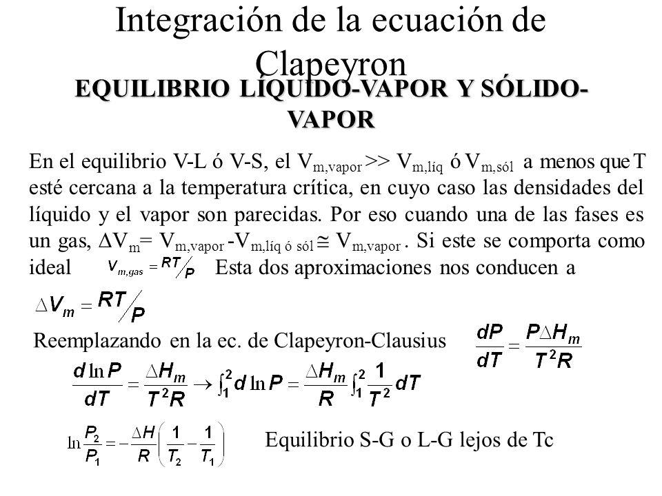 Integración de la ecuación de Clapeyron