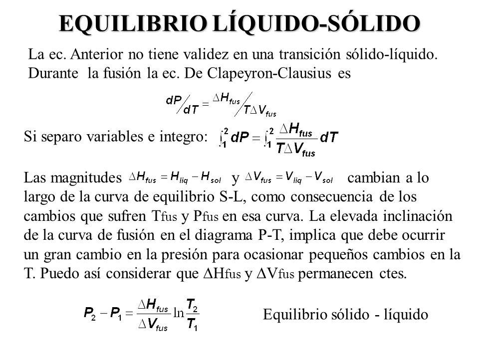 EQUILIBRIO LÍQUIDO-SÓLIDO