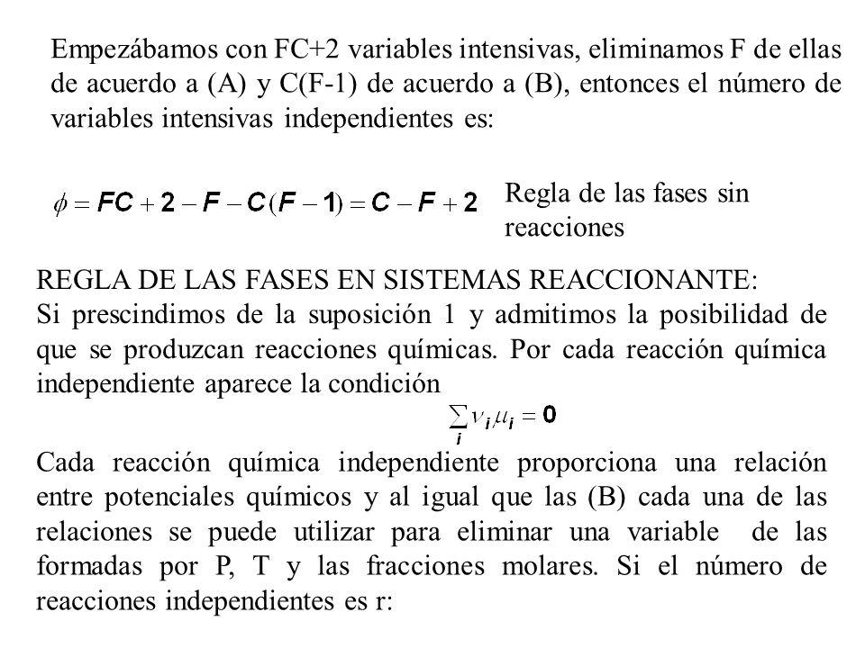 Empezábamos con FC+2 variables intensivas, eliminamos F de ellas de acuerdo a (A) y C(F-1) de acuerdo a (B), entonces el número de variables intensivas independientes es: