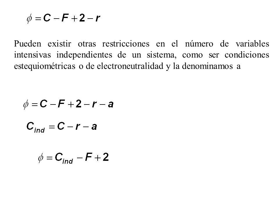 Pueden existir otras restricciones en el número de variables intensivas independientes de un sistema, como ser condiciones estequiométricas o de electroneutralidad y la denominamos a