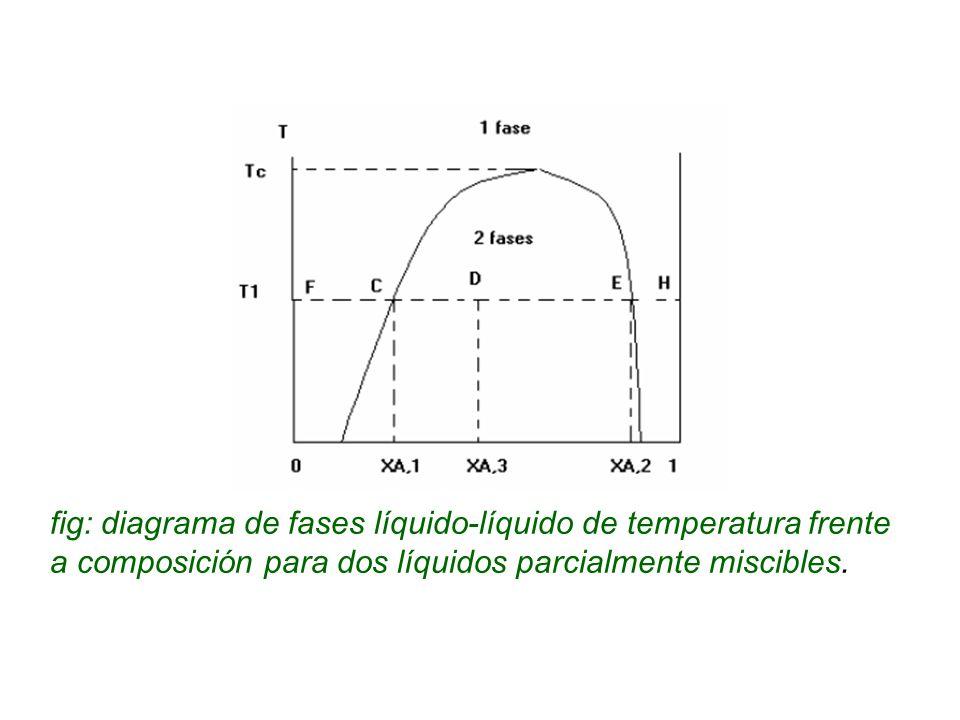 fig: diagrama de fases líquido-líquido de temperatura frente a composición para dos líquidos parcialmente miscibles.