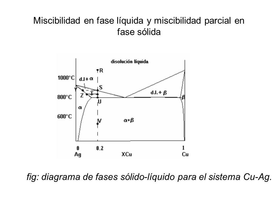 Miscibilidad en fase líquida y miscibilidad parcial en fase sólida
