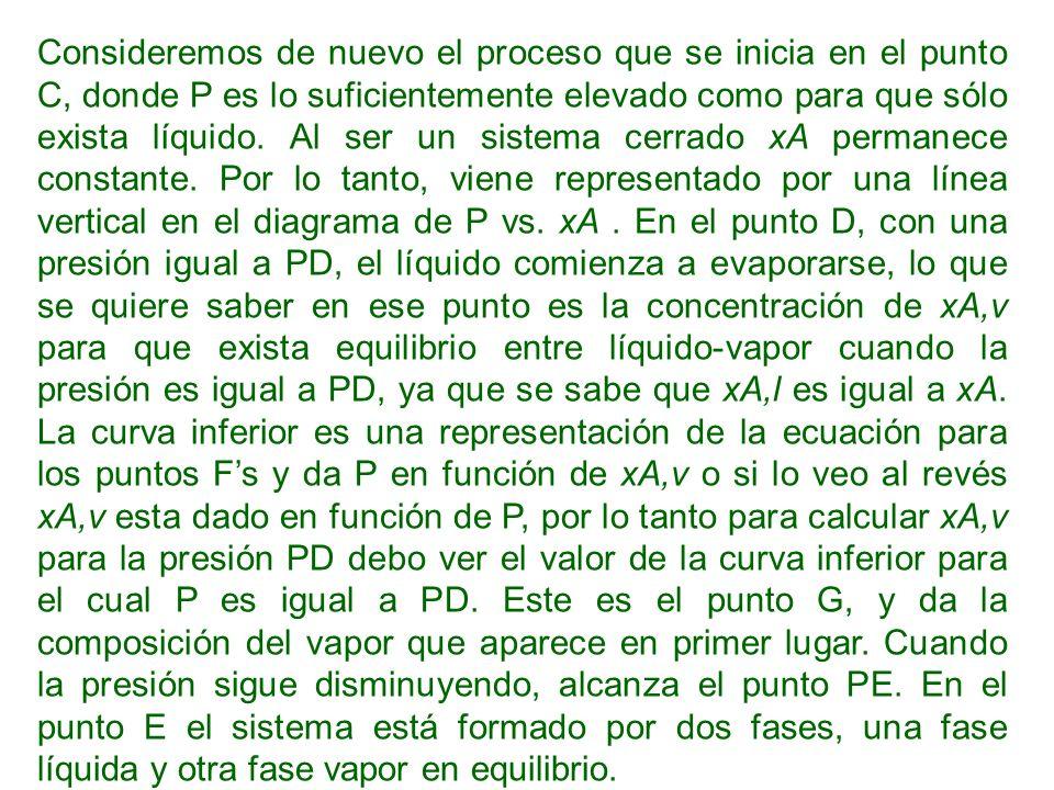 Consideremos de nuevo el proceso que se inicia en el punto C, donde P es lo suficientemente elevado como para que sólo exista líquido.
