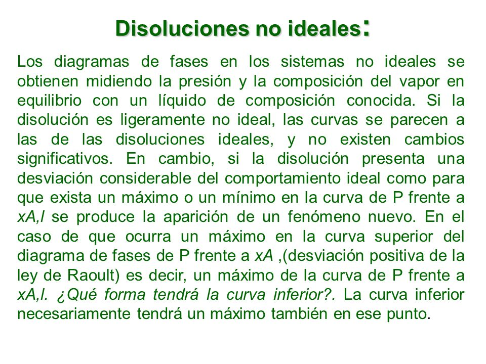 Disoluciones no ideales: