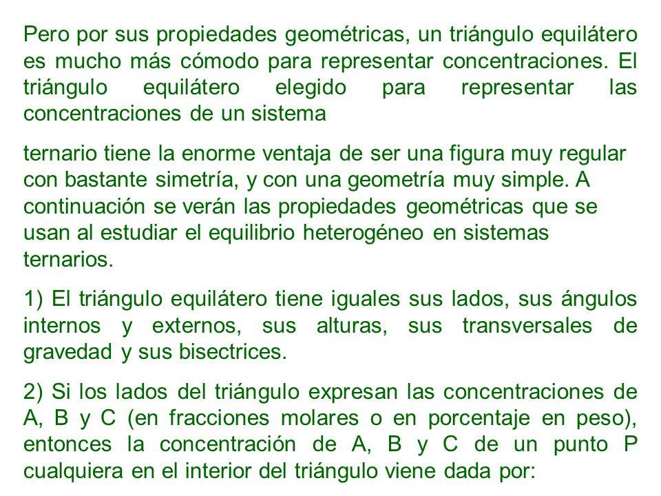 Pero por sus propiedades geométricas, un triángulo equilátero es mucho más cómodo para representar concentraciones. El triángulo equilátero elegido para representar las concentraciones de un sistema