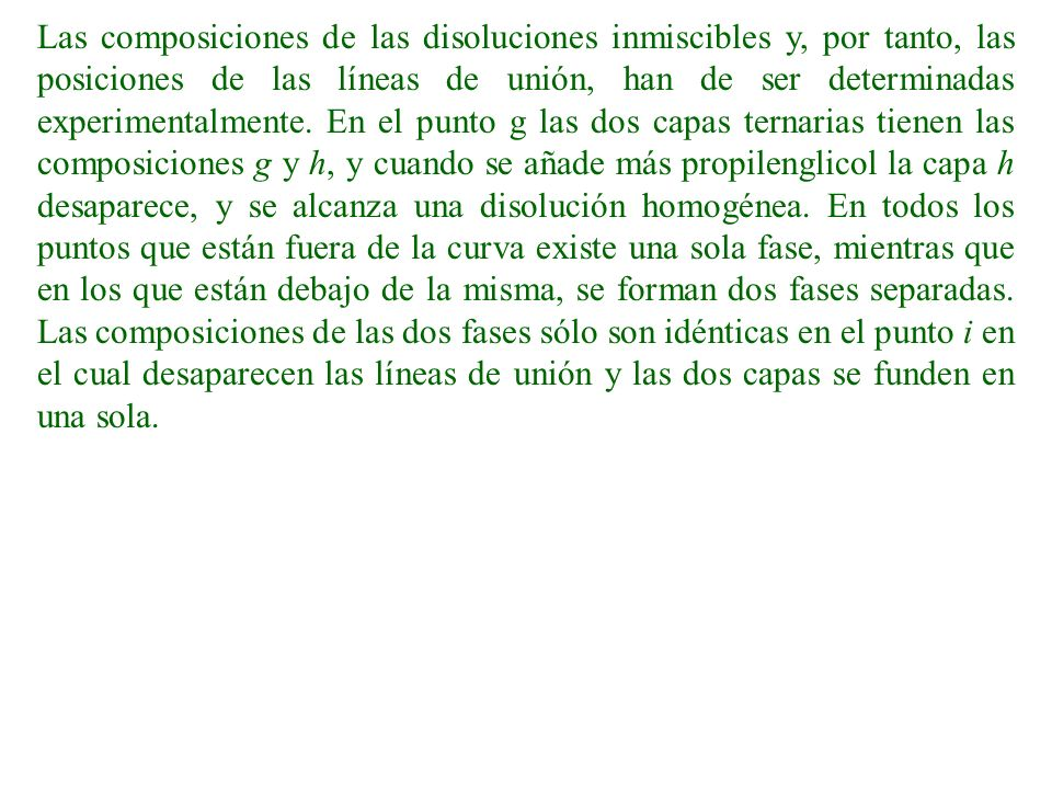 Las composiciones de las disoluciones inmiscibles y, por tanto, las posiciones de las líneas de unión, han de ser determinadas experimentalmente.