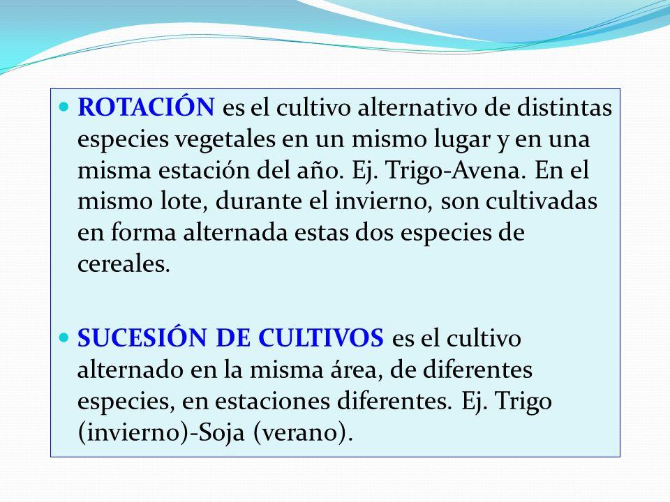 ROTACIÓN es el cultivo alternativo de distintas especies vegetales en un mismo lugar y en una misma estación del año. Ej. Trigo-Avena. En el mismo lote, durante el invierno, son cultivadas en forma alternada estas dos especies de cereales.