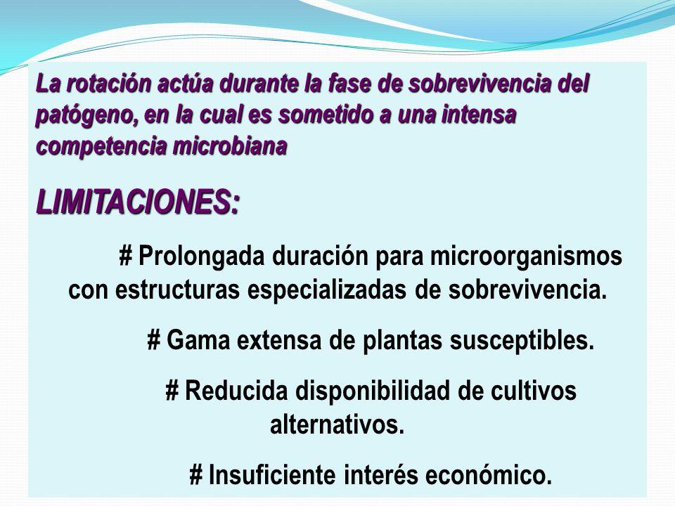 LIMITACIONES: # Gama extensa de plantas susceptibles.