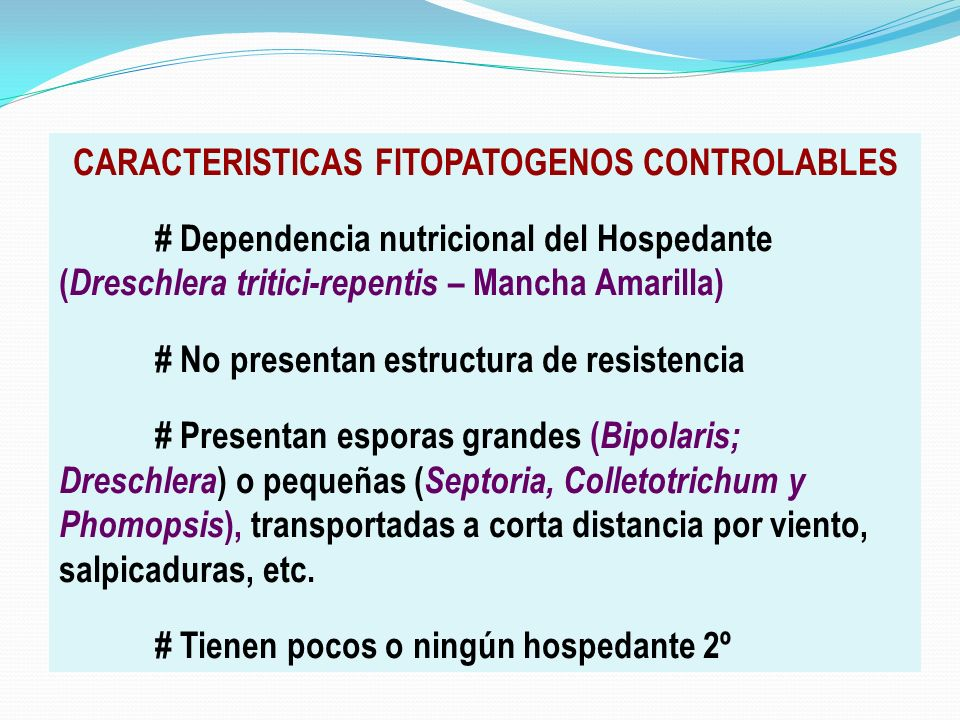 CARACTERISTICAS FITOPATOGENOS CONTROLABLES