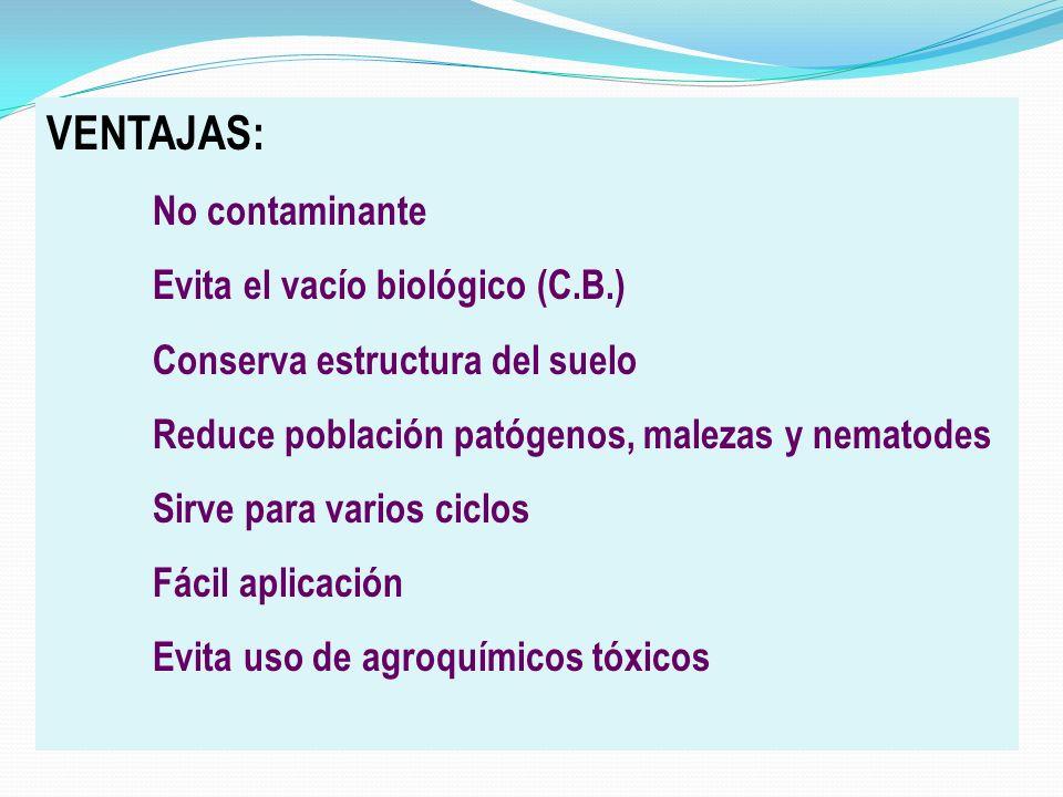 VENTAJAS: Evita el vacío biológico (C.B.)