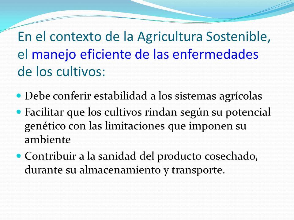 En el contexto de la Agricultura Sostenible, el manejo eficiente de las enfermedades de los cultivos: