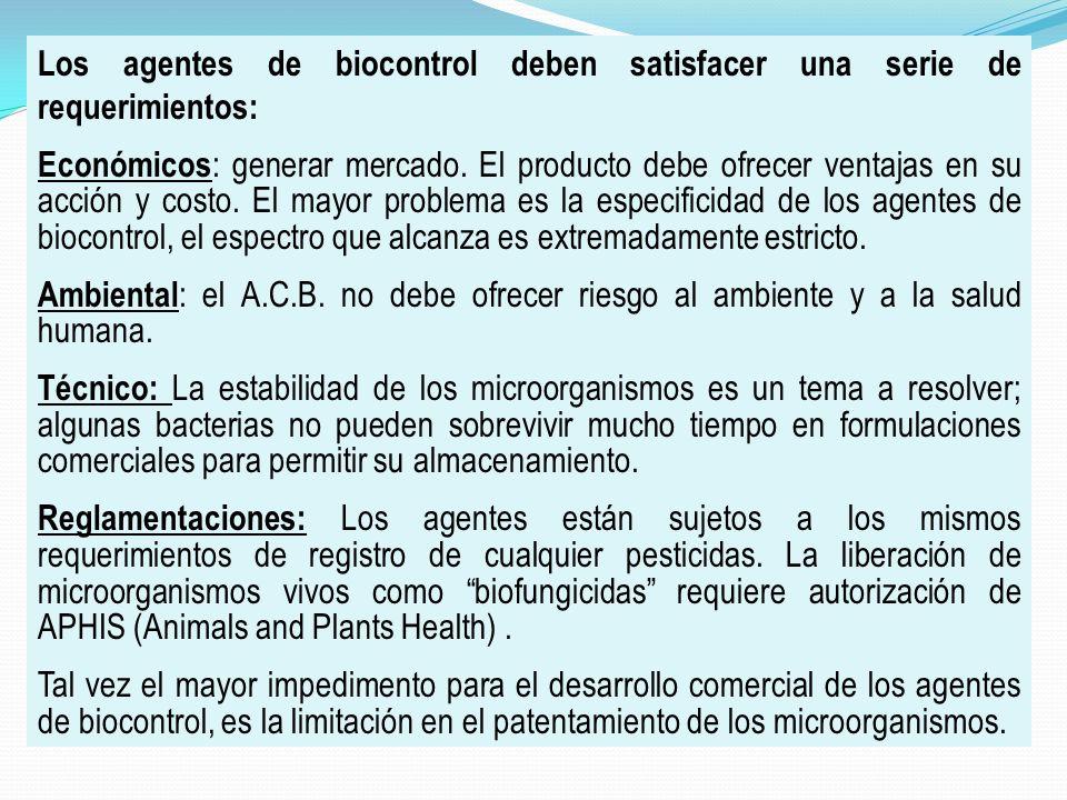 Los agentes de biocontrol deben satisfacer una serie de requerimientos:
