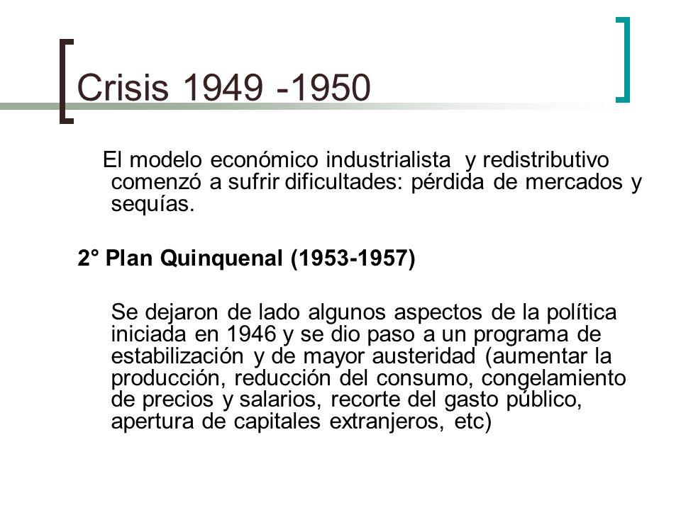 Crisis 1949 -1950El modelo económico industrialista y redistributivo comenzó a sufrir dificultades: pérdida de mercados y sequías.
