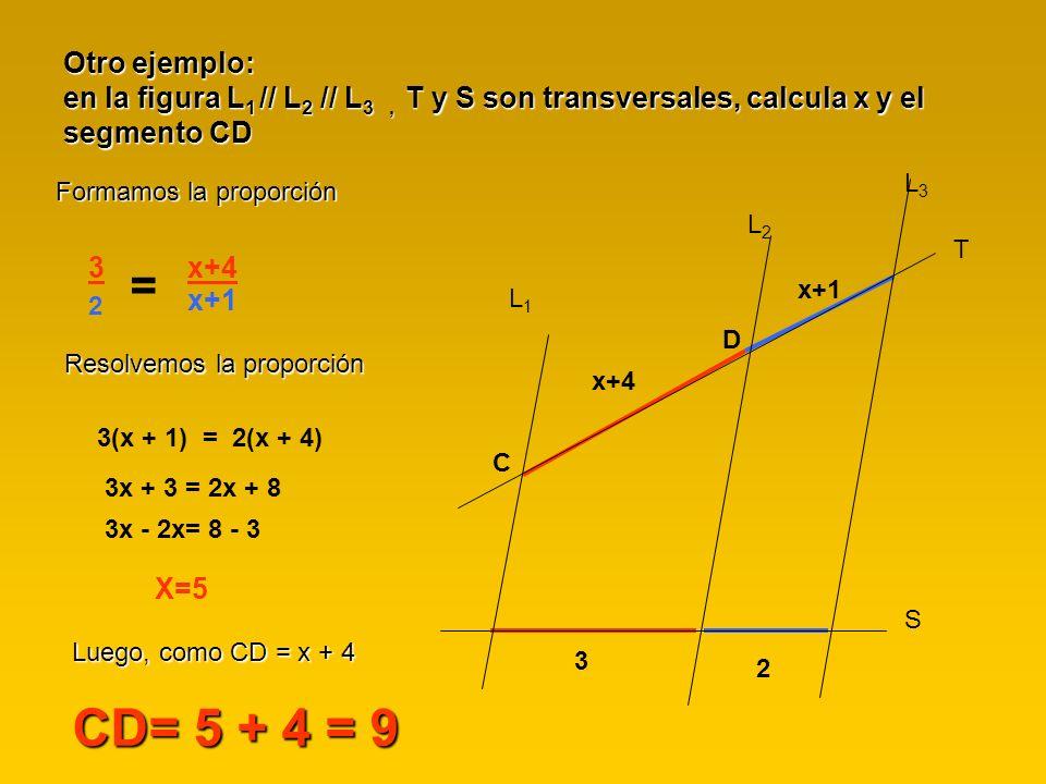 Otro ejemplo: en la figura L1 // L2 // L3 , T y S son transversales, calcula x y el segmento CD