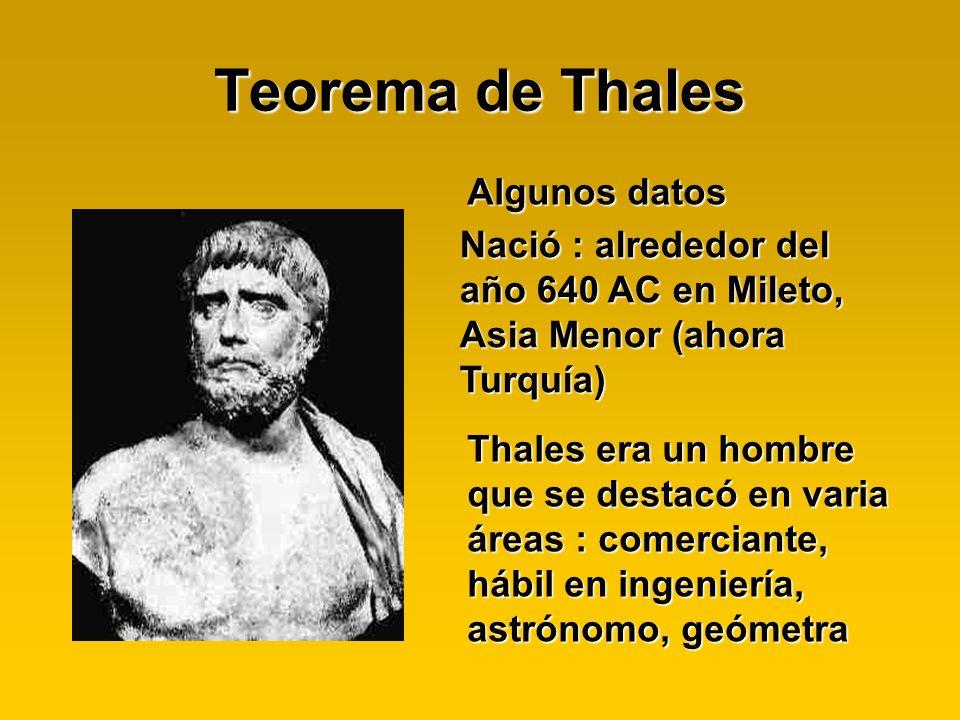 Teorema de Thales Algunos datos