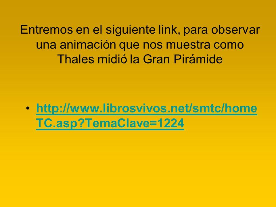 Entremos en el siguiente link, para observar una animación que nos muestra como Thales midió la Gran Pirámide