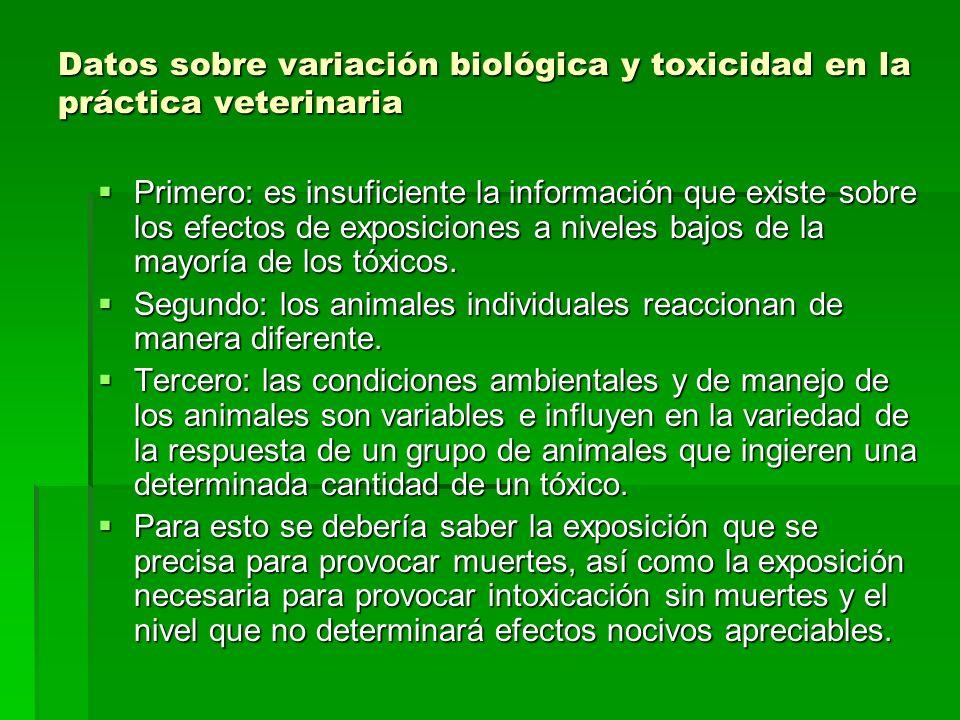 Datos sobre variación biológica y toxicidad en la práctica veterinaria