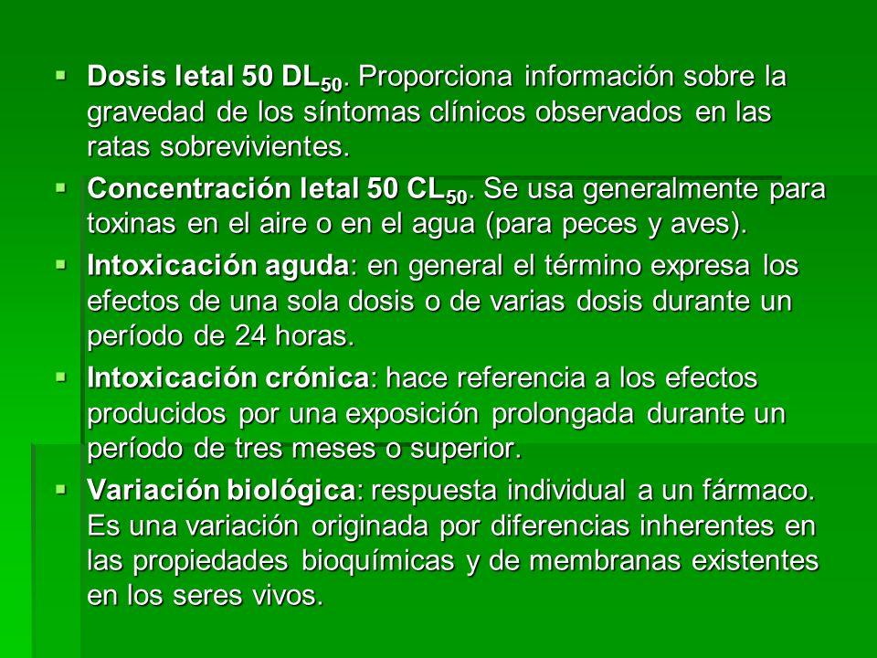 Dosis letal 50 DL50. Proporciona información sobre la gravedad de los síntomas clínicos observados en las ratas sobrevivientes.