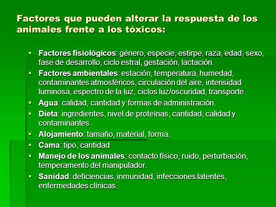 Factores que pueden alterar la respuesta de los animales frente a los tóxicos: