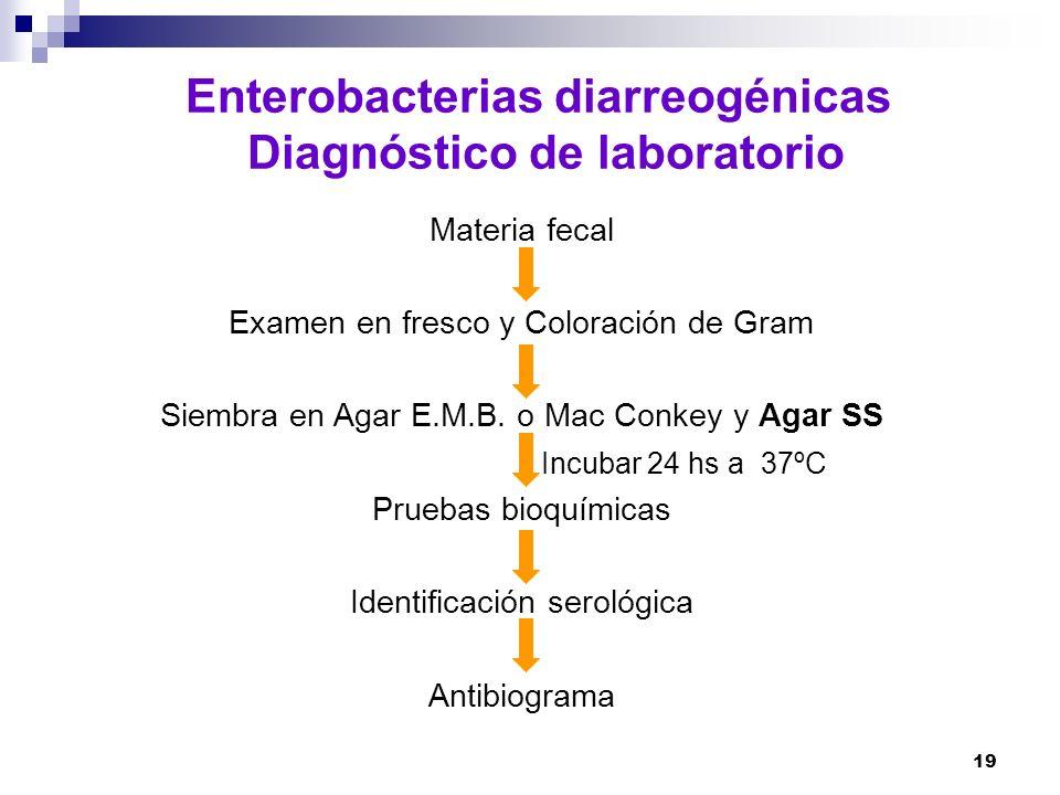 Enterobacterias diarreogénicas Diagnóstico de laboratorio