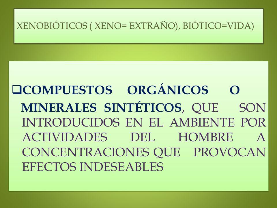XENOBIÓTICOS ( XENO= EXTRAÑO), BIÓTICO=VIDA)
