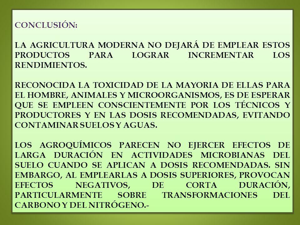 CONCLUSIÓN: LA AGRICULTURA MODERNA NO DEJARÁ DE EMPLEAR ESTOS PRODUCTOS PARA LOGRAR INCREMENTAR LOS RENDIMIENTOS.