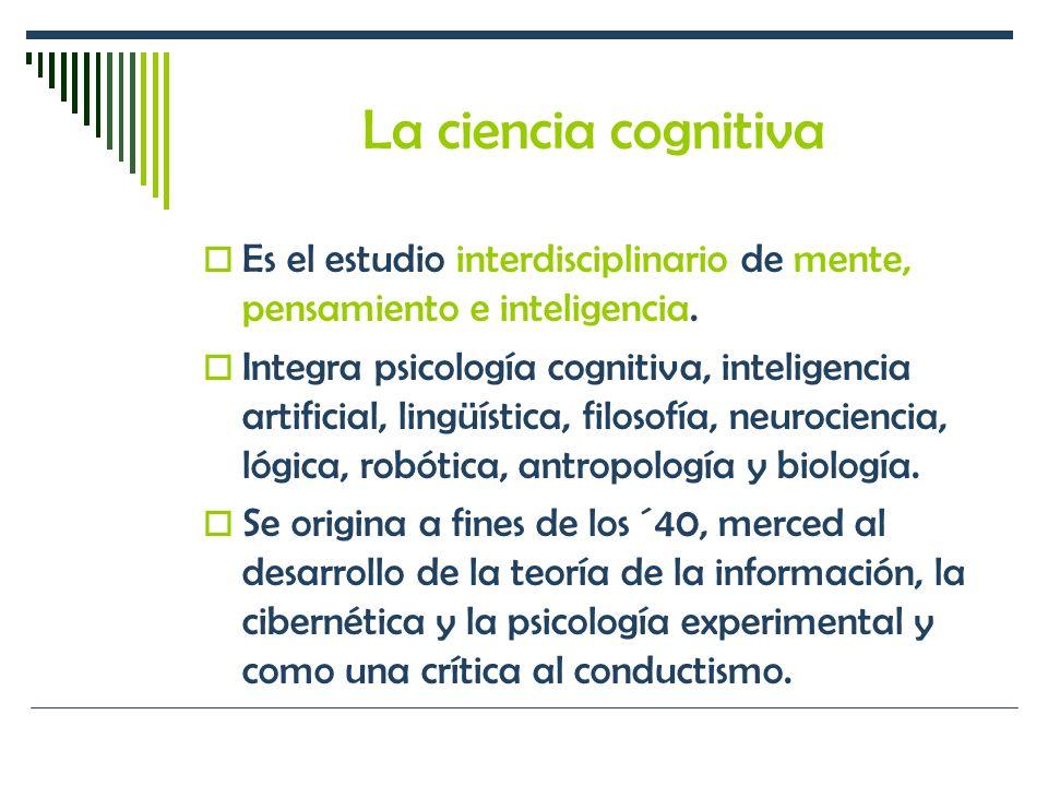 La ciencia cognitiva Es el estudio interdisciplinario de mente, pensamiento e inteligencia.