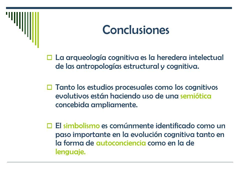 Conclusiones La arqueología cognitiva es la heredera intelectual de las antropologías estructural y cognitiva.