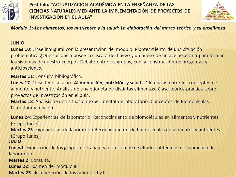 Postítulo: ACTUALIZACIÓN ACADÉMICA EN LA ENSEÑANZA DE LAS CIENCIAS NATURALES MEDIANTE LA IMPLEMENTACIÓN DE PROYECTOS DE INVESTIGACIÓN EN EL AULA
