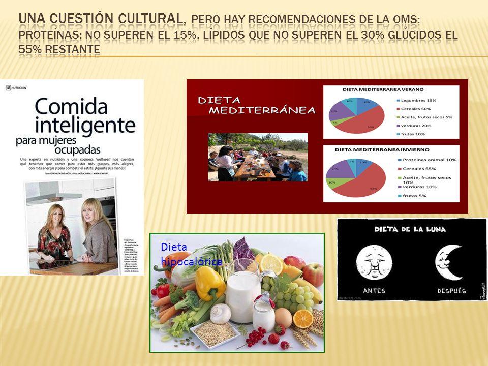 Una cuestión cultural, pero hay recomendaciones de la OMS: Proteínas: no superen el 15%. Lípidos que no superen el 30% glúcidos el 55% restante