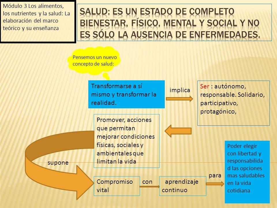 Módulo 3 Los alimentos, los nutrientes y la salud: La elaboración del marco teórico y su enseñanza