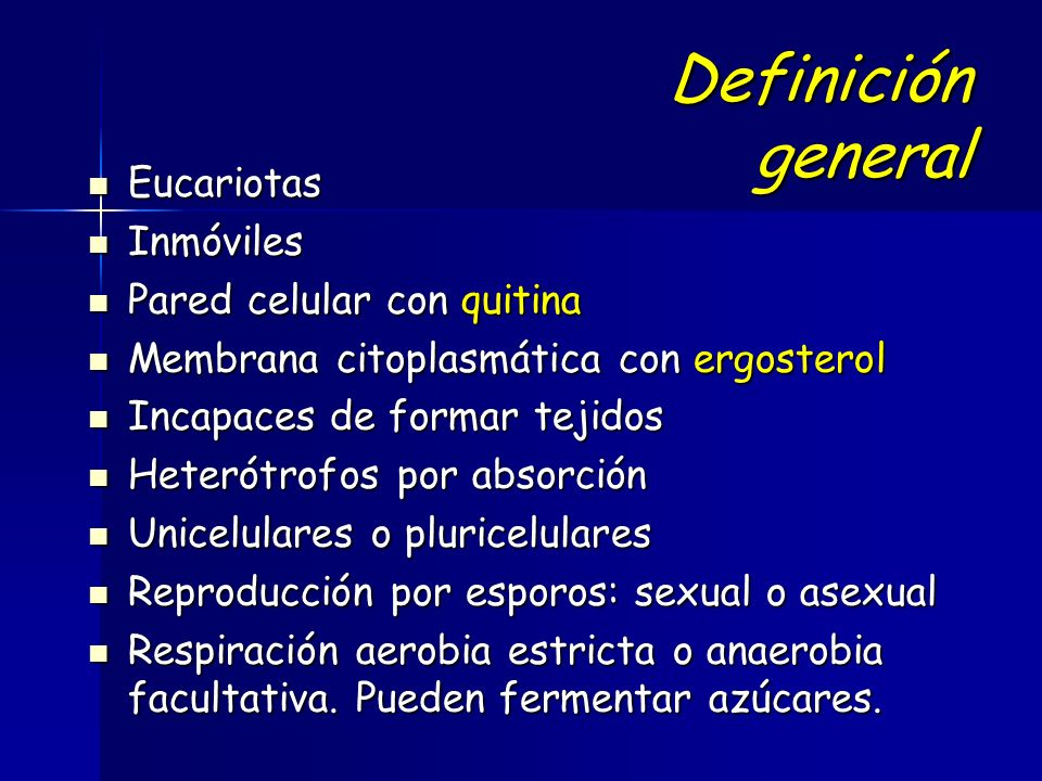 Definición general Eucariotas Inmóviles Pared celular con quitina