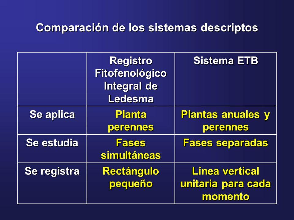 Comparación de los sistemas descriptos