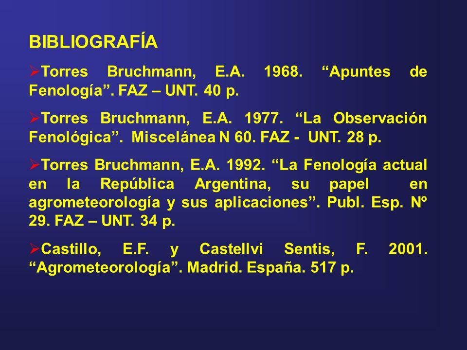 BIBLIOGRAFÍA Torres Bruchmann, E.A. 1968. Apuntes de Fenología . FAZ – UNT. 40 p.