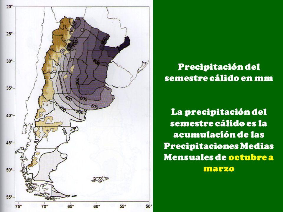 Precipitación del semestre cálido en mm
