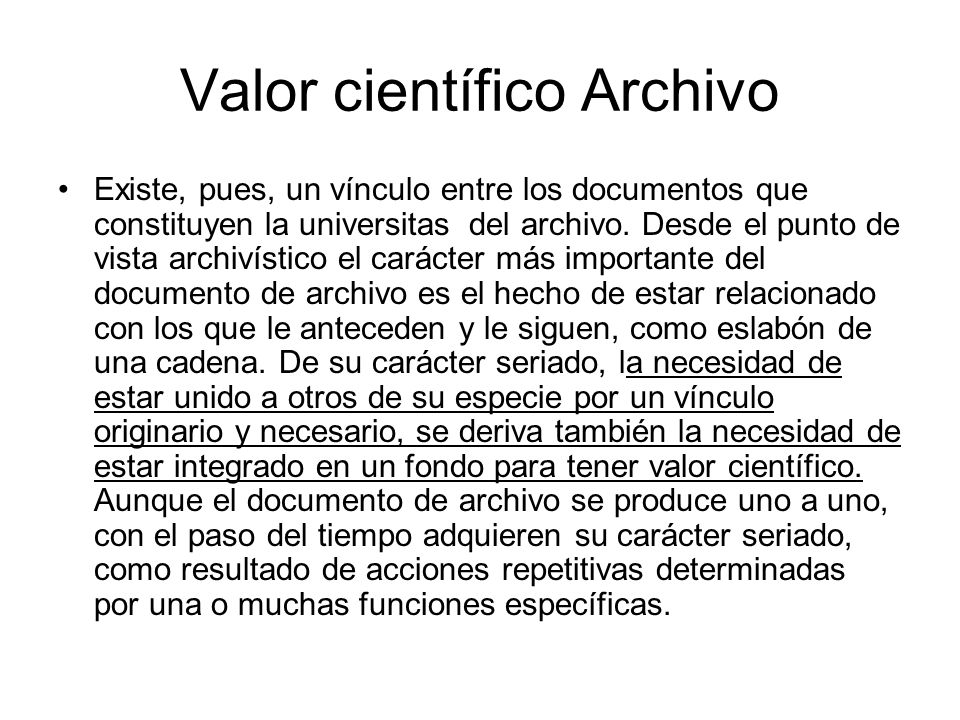 Valor científico Archivo