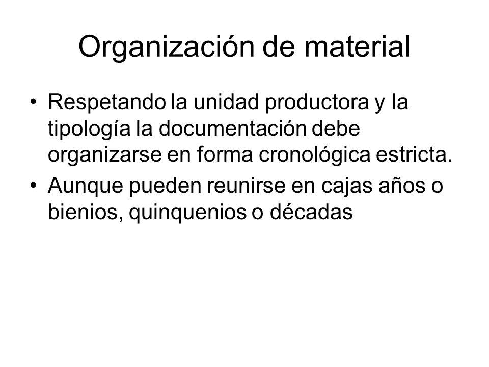 Organización de material