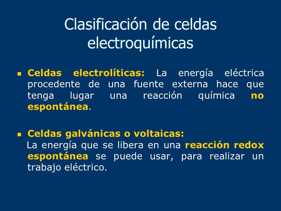 Clasificación de celdas electroquímicas