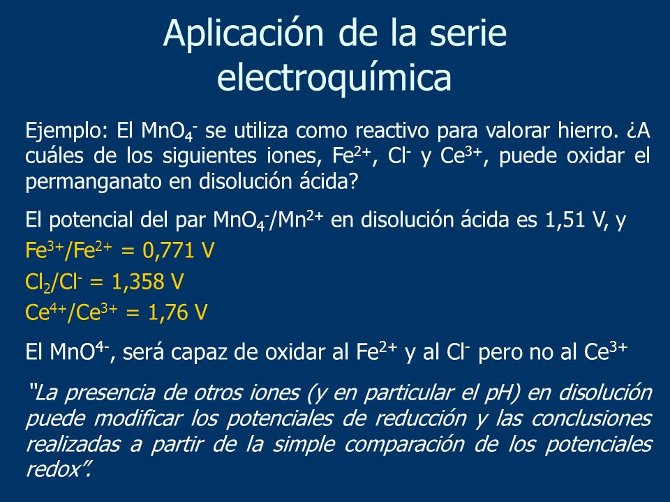 Aplicación de la serie electroquímica