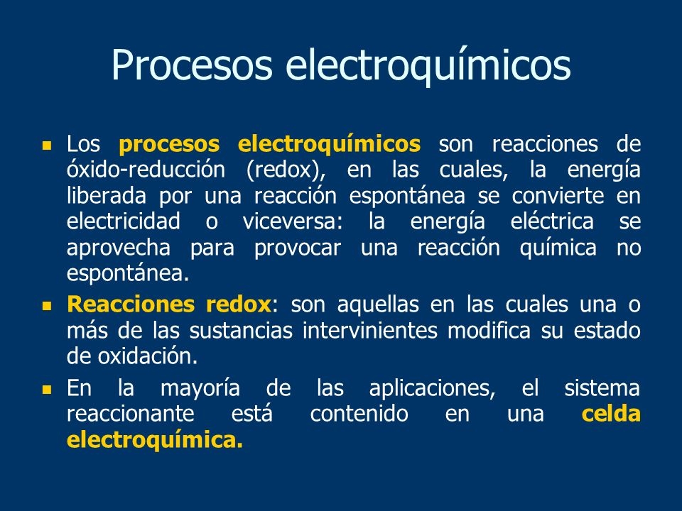 Procesos electroquímicos