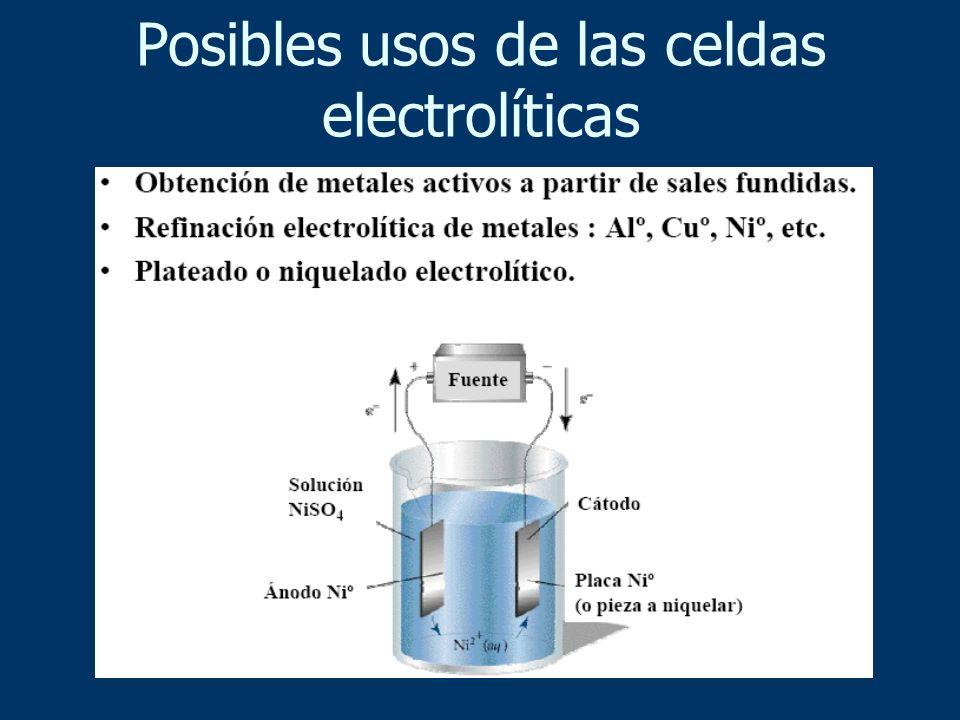 Posibles usos de las celdas electrolíticas