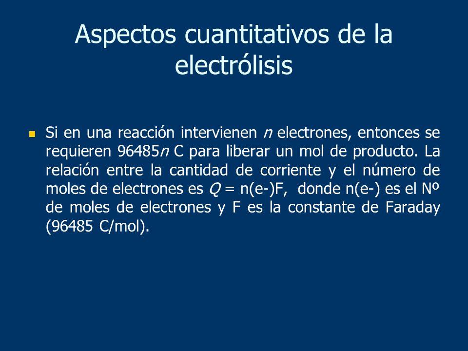 Aspectos cuantitativos de la electrólisis