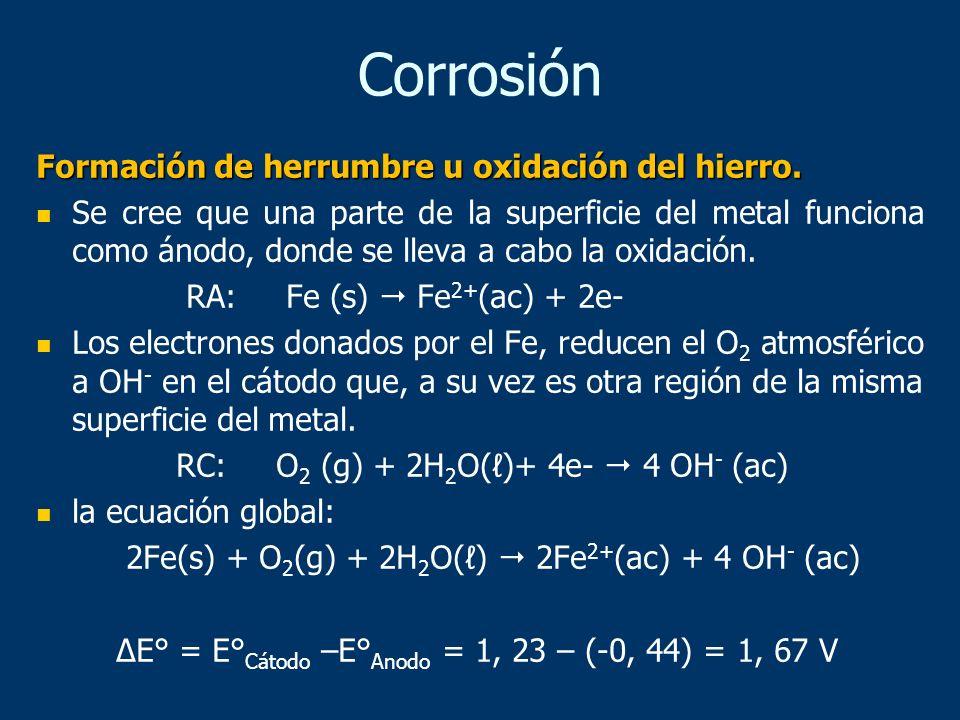 Corrosión Formación de herrumbre u oxidación del hierro.