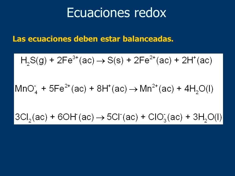 Ecuaciones redox Las ecuaciones deben estar balanceadas.
