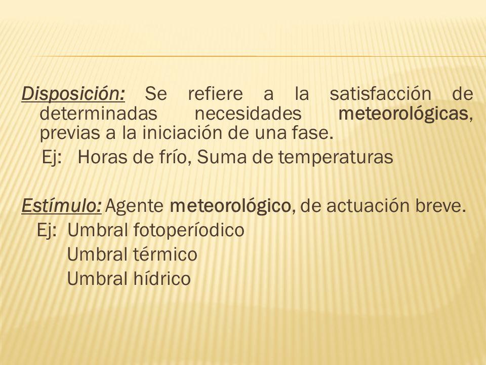 Disposición: Se refiere a la satisfacción de determinadas necesidades meteorológicas, previas a la iniciación de una fase.